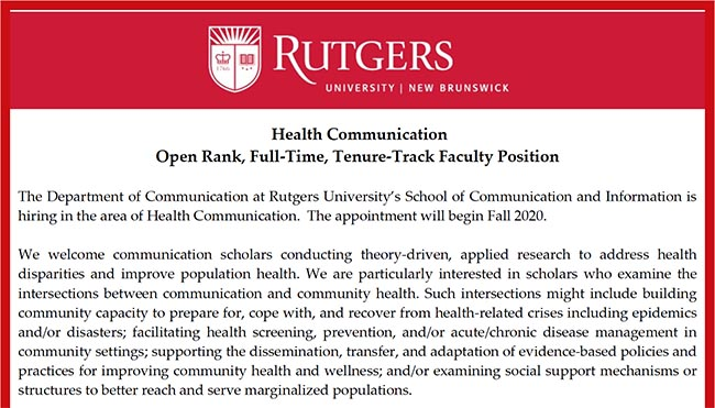 Health Communication Open Rank, Full‐Time, Tenure‐Track Faculty Position Ad