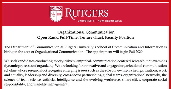 Organizational Communication Open Rank, Full-Time, Tenure-Track Faculty Position Ad