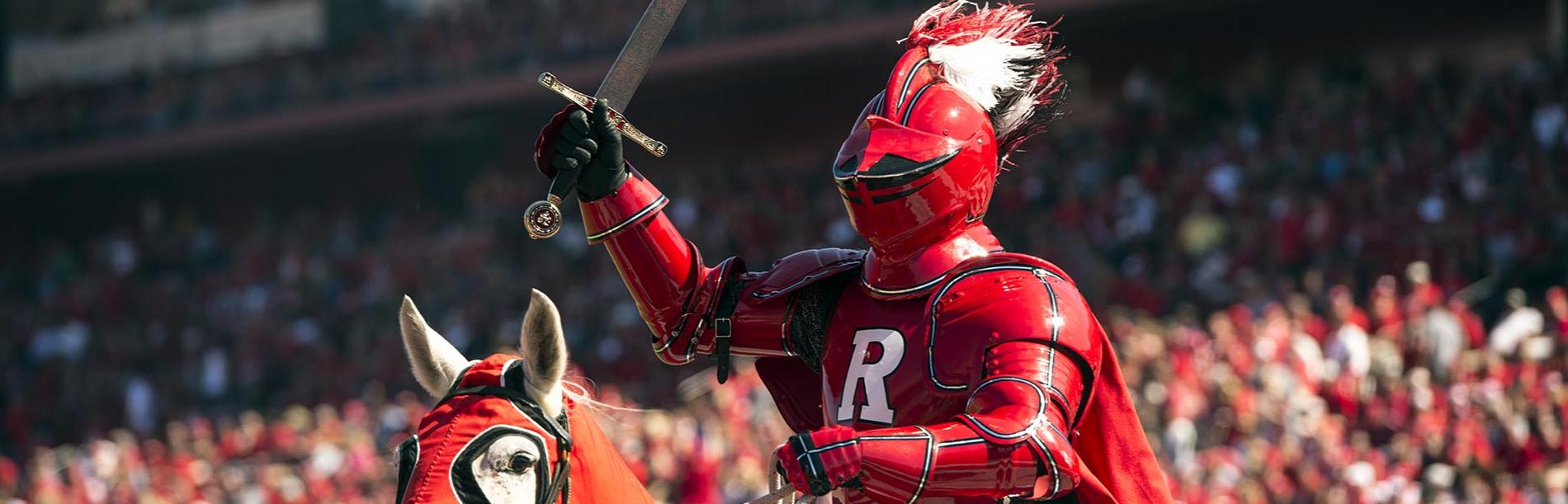 Scarlet Knight on Horseback Photo - Photographer: Nick Romanenko; Copyright: Rutgers, The State University of New Jersey.