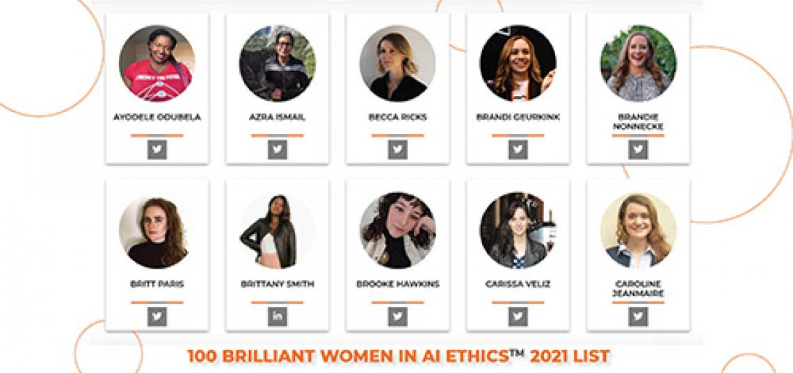 The list honors the most influential women in various fields working to advance ethical standards for artificial intelligence and other emerging technologies.